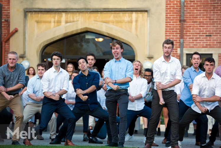 Students welcome guest with a haka performance